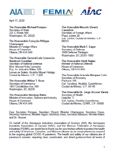 April 17 Letter from AIA, FEMIA, and AIAC