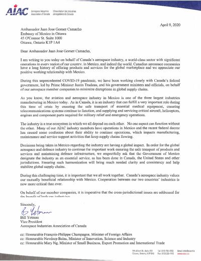 AIAC letter - April 9